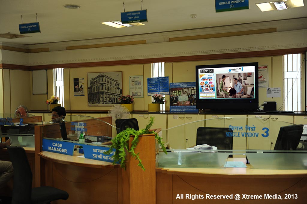 Digital Signage for More than 2000 Screens across India in SBI Branches by Xtreme Media