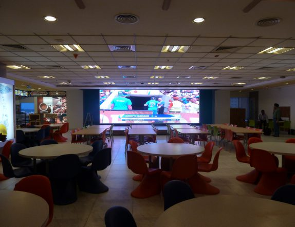 VIbrant LED Display in Cafeteria at Paypal